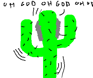 Gray sideburns cactus terrified to be alive