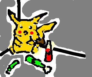 Pikachu drinks alcohol alone