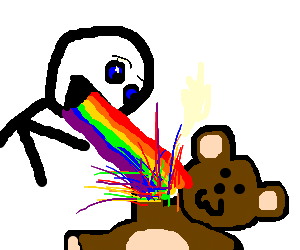 man spitting out colors on a teddy bear
