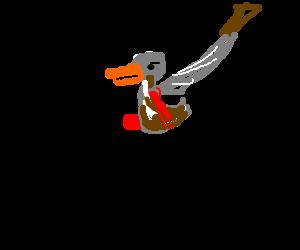 Duck riding bike gets stabbed by samurai sword