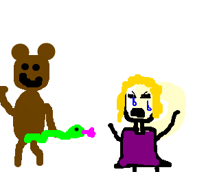 Pedobear showing his snake to little crying girl