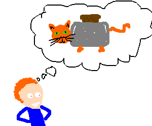 Kid happily dreams of cat/toaster hybrid