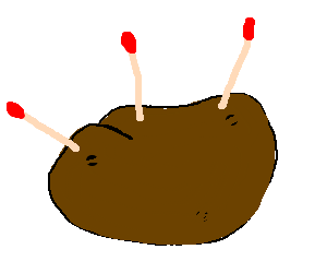 Potato with 3 matchsticks in it