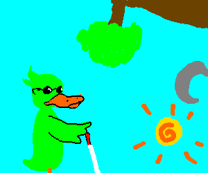 Blind green duck in a parallel world.