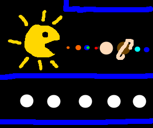 sun plays pacman with planets