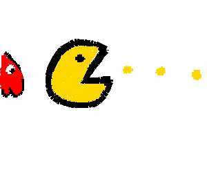 Pacman going to eat thingies in pacman game