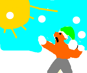 Man in green santa hat throws snowball at sun
