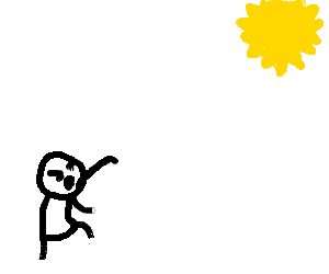 A man throwing snowballs at the sun