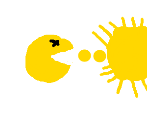 Dead pacman attempts to eat the sun