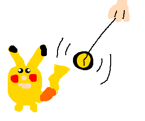 Pikachu is being hypnotised
