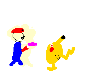 Mario Hypnotising Pikachu, with a dildo