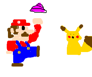 Mario threatens pikachu with a pink turd