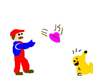Mario throws hot pink poop at scared Pikachu...