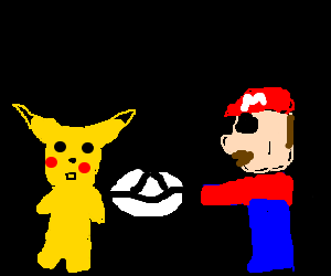 Mario throwing UFO to Pikachu