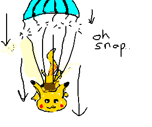 pikachu in freefall with a missing parachute