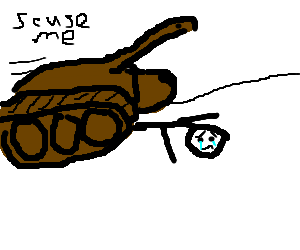 tank running over a sad man on a slight gradient