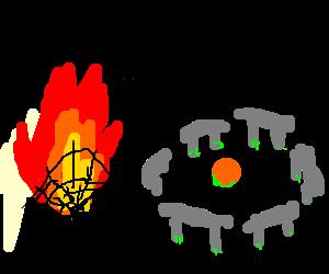 Flaming Spiderwebs near Stonehenge
