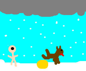 Child learns yellow snow (bad) comes from dogs