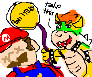 Bowser gives dead mario the #1 Medal 4 spelling
