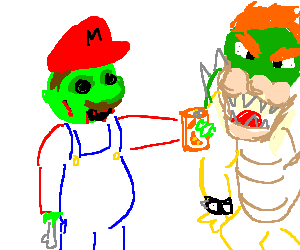 Zombie Mario offers Bowser an Orange Crush
