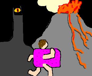 Nyan man runs to Mordor. Sauron watches.