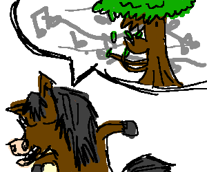 horse sings about cannibal tree eatin own leaves