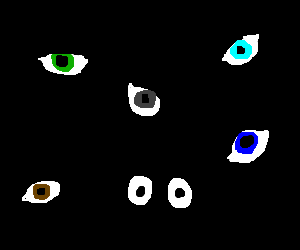 Five separate eyes and one pair of cartoon eyes