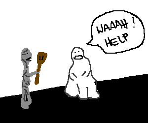 Zombie frightens ghost with a paddle