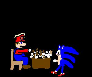 Mario&Sonic playing chess, sonic is winning