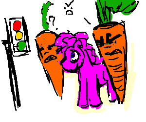 Angry carrots pinkies a dubious traffic light