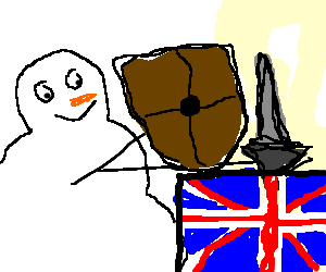 Happy snowman goes to war with the UK.