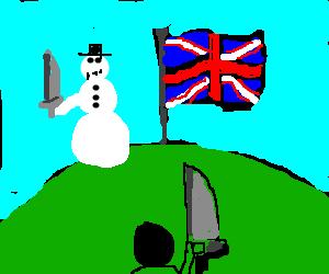 snowman defends UK flag