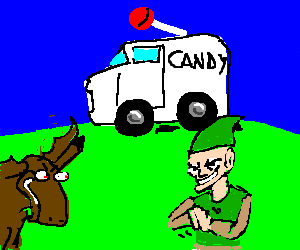 Elf & moose conspiring, looking at a candy truck