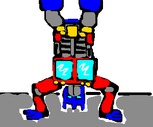 Optimus Prime does a handstand