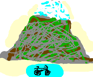 bicycle in pool under mountain
