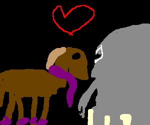 gay horse & elephant at the bar