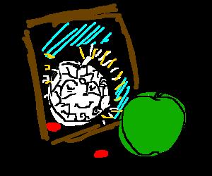 Green apple sees diamond apple in relfection