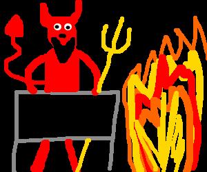 Satan's hot dog stand on sidewalk next to FIRE