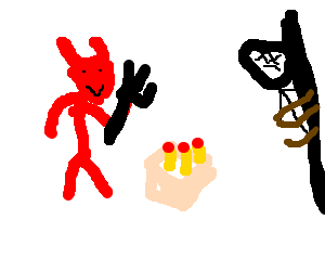 Devil celebrates birthday with a sacrifice.