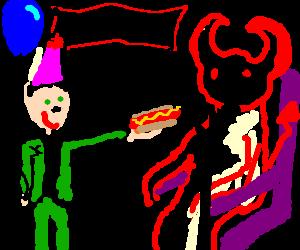 hitler wishes satan happybirthday with a hogdog