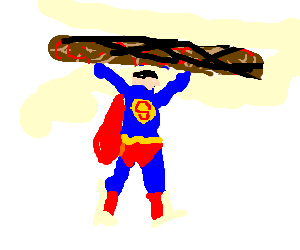 Superman flips a giant burger
