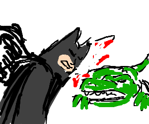 Batman falls on croc headfirst. Smashes croc.