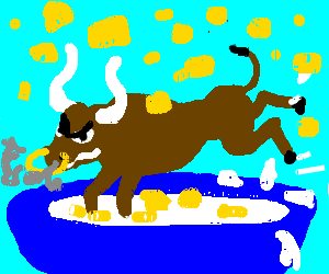 Angry bull frolics in Cap'n Crunch storm
