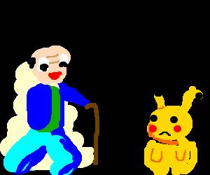 Bald Ash Ketchum makes Pikachu disappointed