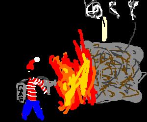 Waldo burns down a Scribble Factory