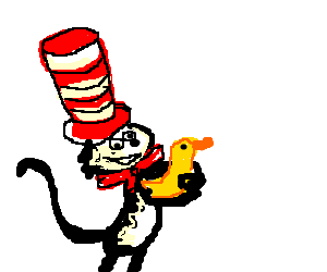 The cat in the hat gives hug to a duck