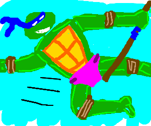 Donatello Executes Flying Kick In A Pink Diaper