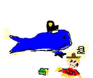 Police whale fights dizzy scarecrow