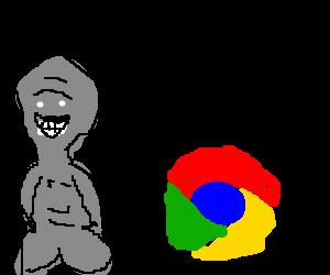 Gray alien amazed by Chrome.