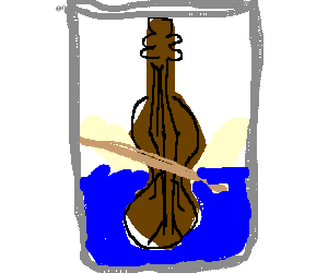 violin in a cup with water.